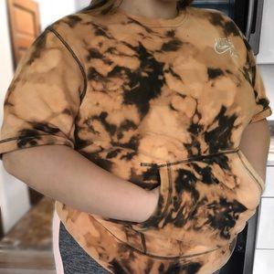Nike Shirts - VINTAGE NIKE Short-Sleeved Bleach-Dyed Sweatshirt